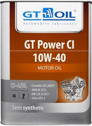 Масло дизельное GT OIL Power CI 10W-40 CI-4/SL полусинтетика 4л