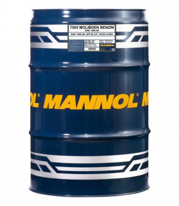 Масло моторное MANNOL Molibden Benzin 10W-40 SL/CF A3/B3, бочка 208л