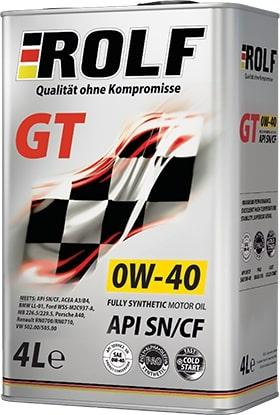 Масло моторное ROLF GT 0W-40 SN/CF синтетика 4л