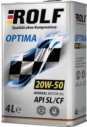 Масло моторное ROLF Optima 20W-50SL/CF полусинтетика 4л