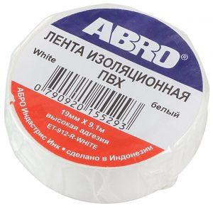 Изолента ABRO ET-912-R-WHITE белая