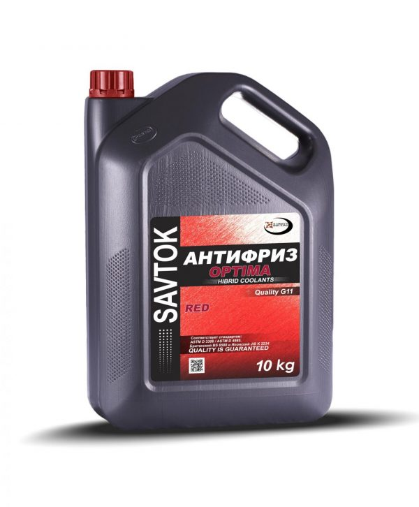 Антифриз SAVTOK OPTIMA G11 красный 10кг  (прозрачная канистра)