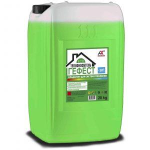 Теплоноситель ГЕФЕСТ ЭКО -30 на основе глицерина зеленый 20кг