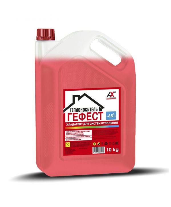 Теплоноситель ГЕФЕСТ -65С на основе моноэтиленгликоля красный 10кг