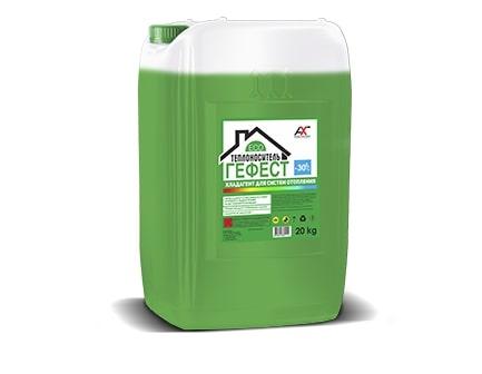 Теплоноситель ГЕФЕСТ -30С на основе пропиленгликоля зеленый 20кг