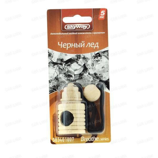 Ароматизатор подвесной SKYWAY Черный лед Breathe.series 5мл (бутылочка в дереве)