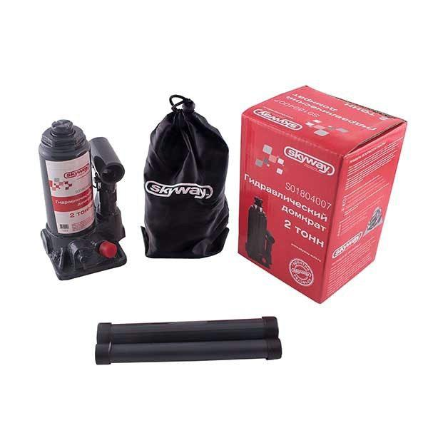 Домкрат бутылочный SKYWAY 2т h 148-278мм (с клапаном в коробке+сумка)