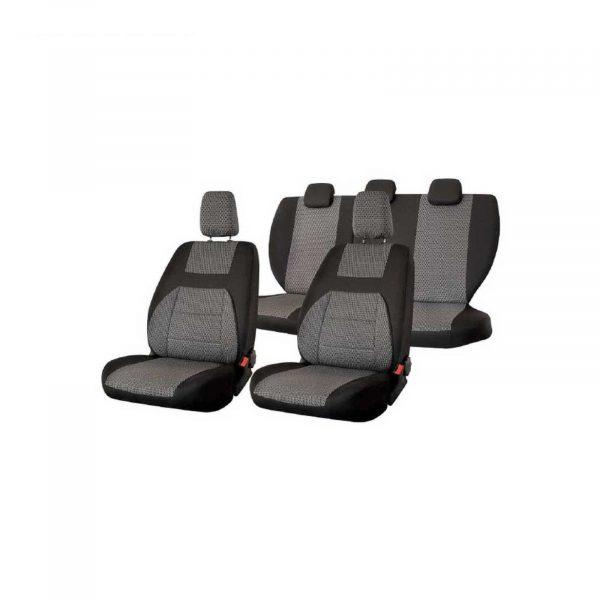 Чехлы сиденья заднее сиденье сплошное жаккард SKYWAY LADA GRANTA 2011-н.в. темно-серый 11 предметов
