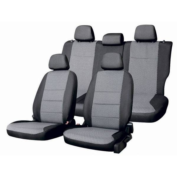 Чехлы сиденья раздельная спинка жаккард SKYWAY RENAULT LOGAN с 2014 седан темно-серый 12 предметов