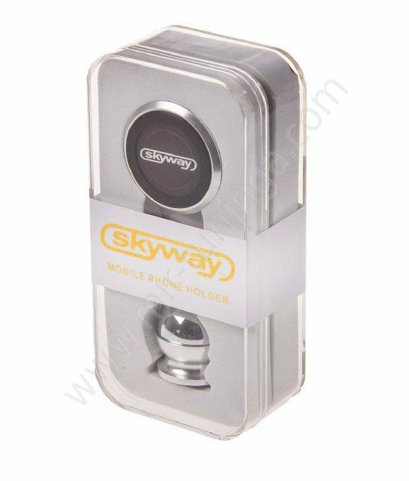 Держатель телефона магнитный на панель SKYWAY металл круглый хром S00303007