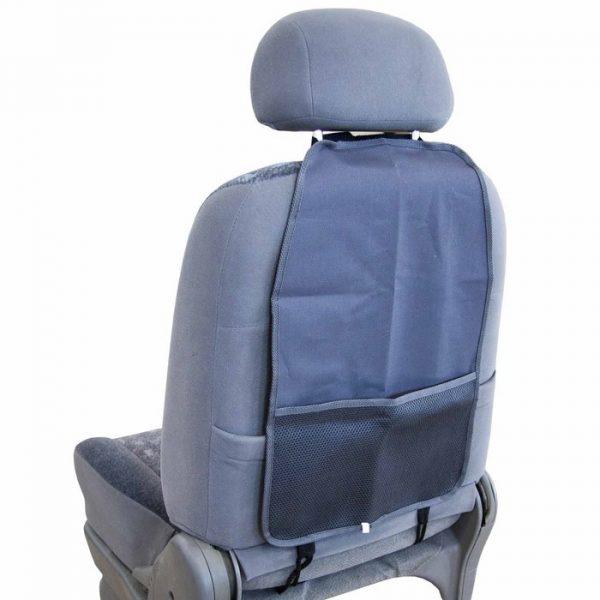 Защита спинки сиденья-органайзер SKYWAY ПВХ Серая с карманом