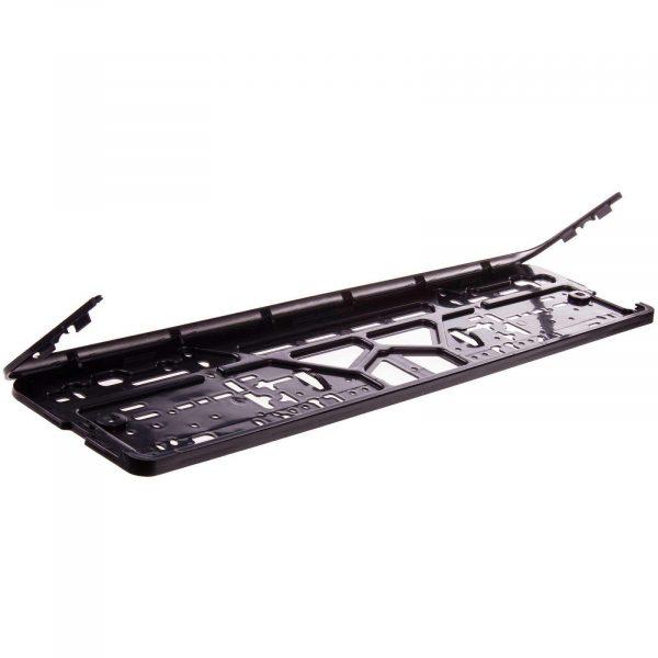 Рамка для номера пластмасс с защелкой SKYWAY черная без надписи полированная
