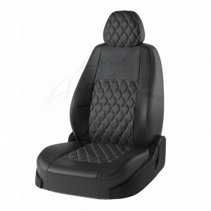 Чехлы Chevrolet Aveo -1 (N200/N250 [х-бек) 2003-2011 Турин Экокожа Чёрный / Чёрный