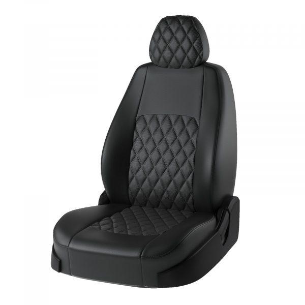 Чехлы Volkswagen Tiguan -1 (без стол) 2007-2016 гв Турин Ромб Экокожа Чёрный / Чёрный / Бежевый