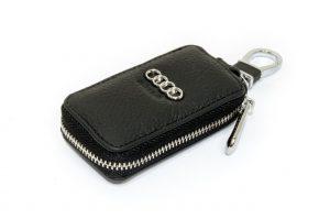 SKYWAY Ключница кожаная прямоугольная, черная, с молнией Audi