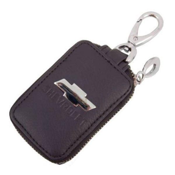 SKYWAY Ключница кожаная прямоугольная, черная, с молнией Chevrolet