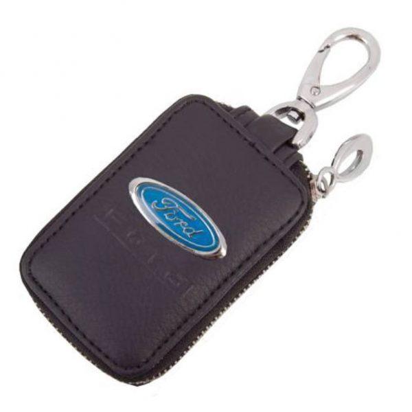 SKYWAY Ключница кожаная прямоугольная, черная, с молнией Ford