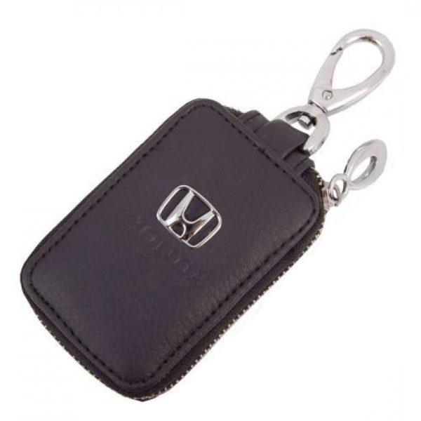 SKYWAY Ключница кожаная прямоугольная, черная, с молнией Honda