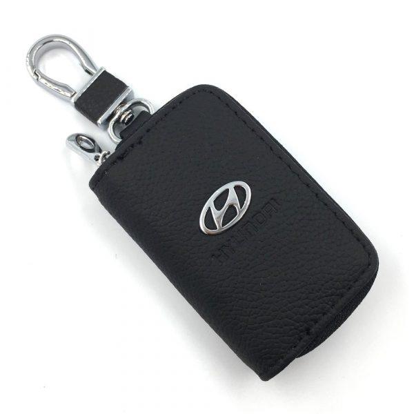 Ключница SKYWAY Hyundai черная с молнией (кожаная-прямоугольная)