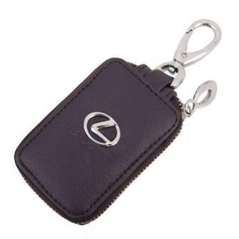 SKYWAY Ключница кожаная прямоугольная, черная, с молнией Lexus
