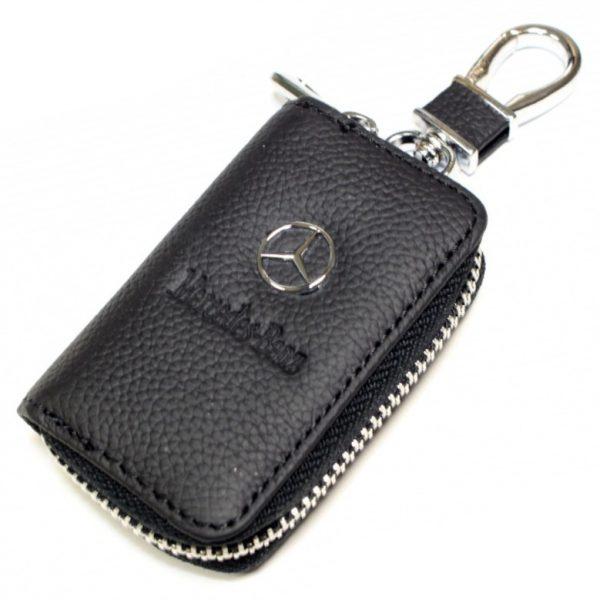 SKYWAY Ключница кожаная прямоугольная, черная, с молнией Mercedes