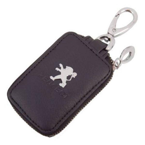 SKYWAY Ключница кожаная прямоугольная, черная, с молнией Peugeot