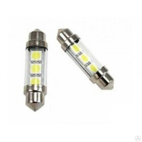 Автолампа светодиодная ДИАЛУЧ 92905 SMD 3 12V С5W 12V SV8.5-8 3SMD, белая