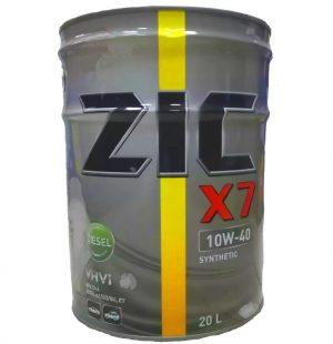 Масло моторное ZIC X7 Diesel 10W-40 CI-4/SL E7 A3/B3/B4 синтетика 20л