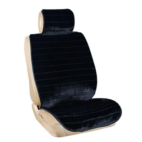 Накидка сиденья меховая искусственный мутон SKYWAY ARCTIC черный полоска 2 предмета