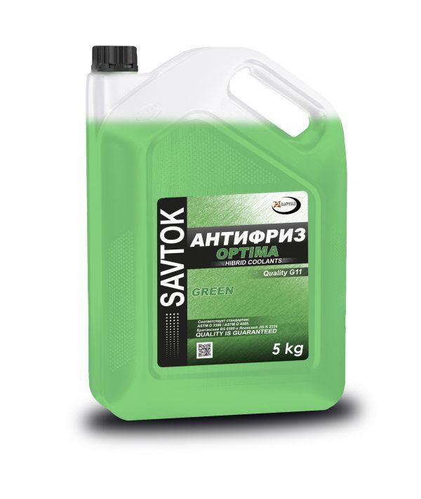 Антифриз SAVTOK OPTIMA G11 зеленый 5кг (прозрачная канистра)
