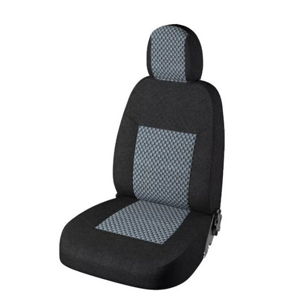 Чехлы Лада Приора -2 седан с 2013 гв Стандарт Плюс Жаккард Чёрный / Стежок серый