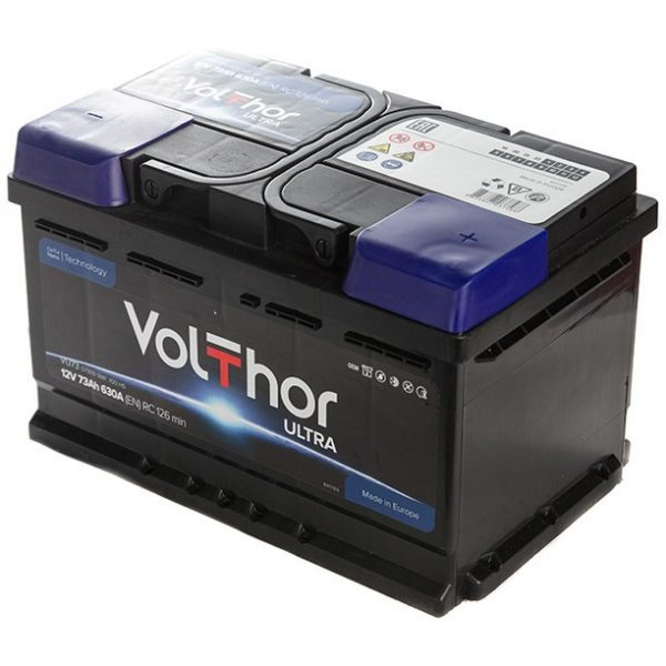 Аккумулятор автомобильный Volthor Ultra 73Ач 630А низкий о/п
