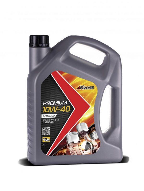 АКЦИЯ! Масло моторное AKross PREMIUM 10W-40 SG/CD 4л по цене 3л